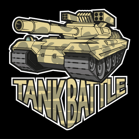 battle tank on black background , vector graphic to design
