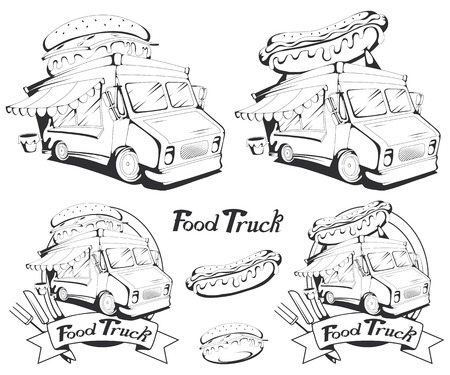 fast food truck vector set, vector graphic to design