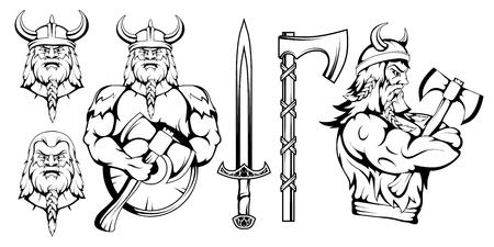 viking warrior set, vector graphic to design