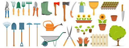 set of different gardening tools, spring garden items, various tools for gardening, garden elements, vector graphic to design