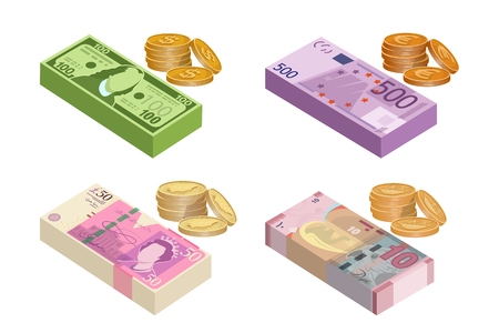 Various kind of money used in the world. Money banknotes and gold coins. Cash money paper. Vector graphics to design