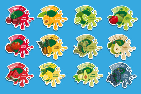 Stickers with splash of fruits. Healthy food. Different types of delicious natural fruits and berries. Different kind of tropical healthy fruits. Vector graphics to design
