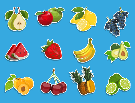 Stickers with fresh fruit set. Healthy food. Different types of delicious natural fruits and berries. Different kind of tropical healthy fruits. Vector graphics to design Ilustrace