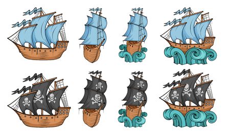 Set of sailing ships and sailboat. Commercial sailboats isolated on white background. Pirating sailboat ship with black sails. Ship on the waves. Vector graphics to design Illustration