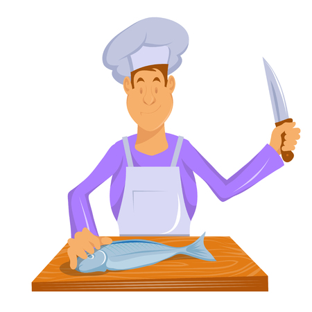 Professional chef makes fish. Chef in a cooking hat. Cook at work. ?hef cooking gourmet meal. Cartoon cook - chef in uniform. Vector graphics to design Illusztráció
