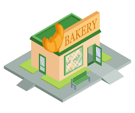 Vector isometric bakery shop. Facade of bakery shop isolated on white background. Bakery shop house. Bake bread. Bakery emblem. Vector graphics to design