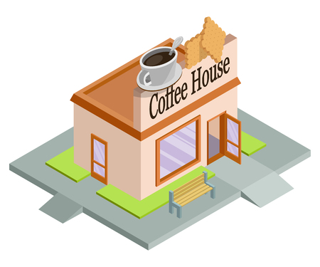 Vector isometric coffee house. Facade of coffee house isolated on white background. Street coffee house. Freshly brewed coffee. Cafe emblem. Vector graphics to design