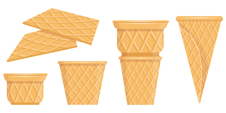 Vector waffle cone collection. Waffle cone. Vector graphics to design Banque d'images - 124802952
