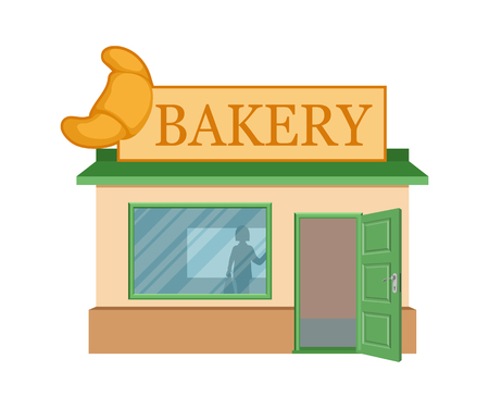 Vector flat bakery shop. Facade of bakery shop isolated on white background. Bakery shop house. Bake bread. Bakery emblem. Vector graphics to design