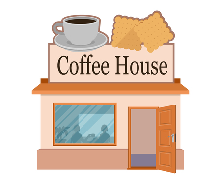 Vector flat coffee house. Facade of coffee house isolated on white background. Street coffee house. Freshly brewed coffee. Cafe emblem. Vector graphics to design