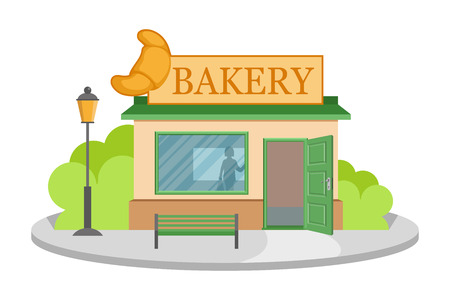 Vector image bakery shop. Facade of bakery shop isolated on white background. Bakery shop house. Bake bread. Bakery emblem. Vector graphics to design 向量圖像