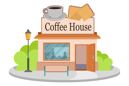 Vector image coffee house. Facade of coffee house isolated on white background. Street coffee house. Freshly brewed coffee. Cafe emblem. Vector graphics to design