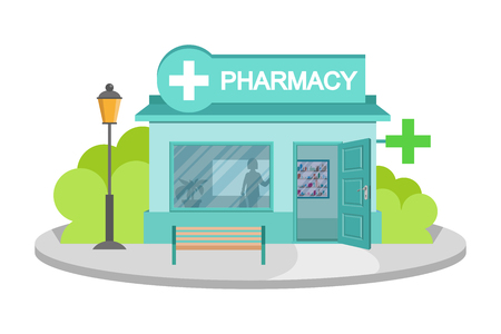 Vector image drugstore. Facade of pharmacy store isolated on white background. Drugstore house. Cartoon pharmacy store building. Drugstore front. Vector graphics to design Çizim