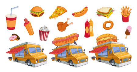 Fast food colorful set. Hotdog and Hamburger. Street food. Popcorn and hot dog. Cartoon fast food for design. Meal festival. Food truck. Vector graphics to design