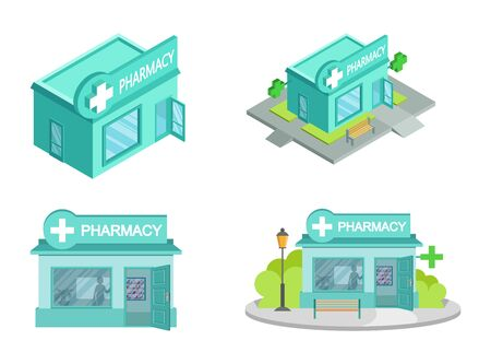 Set of Vector isometric Drugstores from different angles. Facade of Pharmacy Store isolated on white background. Drugstore House. Cartoon Pharmacy Store Building. Drugstore front. Vector graphics