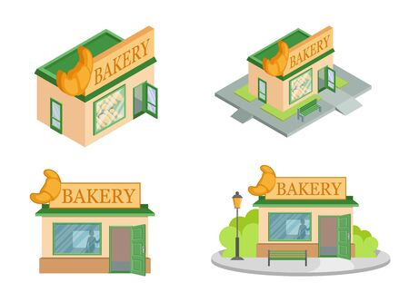 Set of Vector isometric Bakery Shops from different angles. Facade of Bakery Shop isolated on white background. Bakery Shop house. Bake Bread. Bakery emblem. Vector graphics to design  イラスト・ベクター素材