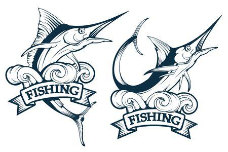 Marlin fish set. Blue marlin fish in different poses, marlin fish fishing emblem, sword fish, vector graphics to design  イラスト・ベクター素材