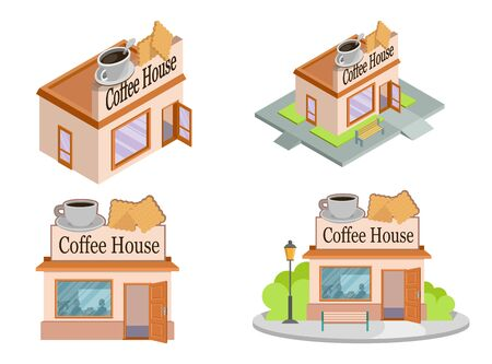 Set of Vector isometric Coffee Houses from different angles. Facade of Coffee House isolated on white background. Street Coffee House. Freshly Brewed Coffee. Cafe Emblem. Vector graphics to design