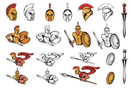 Spartan Warriors in different poses. Roman Warrior with a traditional Weapon. Spartan Warrior in Gold Armor. Roman Warrior with a Sword and Spear in his hand. Team Mascot. Vector Graphic to Design 일러스트