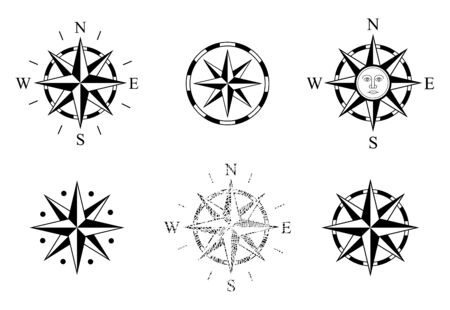 Set of Rose of Winds. Used on Nautical Maps and Charts. Compass Rose. Vector Wind Rose. Compassrose. Marine Navigation. Vector graphics to design  イラスト・ベクター素材