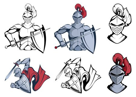 Knight Warriors in different poses. Warrior with a traditional Weapon. Knight Warrior in Combat Helmet. Knight Warrior with a Sword in his hand. Team Mascot. Vector Graphic to Design Ilustracja