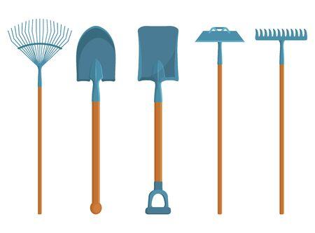 Zestaw różnych narzędzi ogrodniczych. Wiosenne przedmioty ogrodowe. Różne narzędzia do ogrodnictwa. Grafika wektorowa do projektowania.