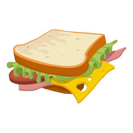 Hamburger. Fast Food. Tasty Street Food. Fresh Fast Food Product. Delicious Hamburger With Cheese. Fast Meal Diet. Big Best Hamburger. Fresh Hot Meal. Not Healthy Food. Vector graphics to design.  イラスト・ベクター素材