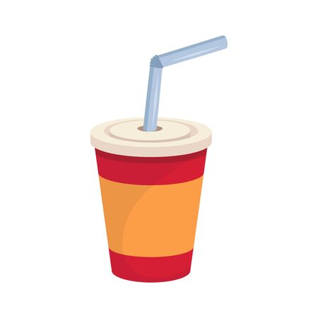 Cola Paper Cup. Fast Food. Tasty Street Food and Drink. Fresh Fast Food Product. Delicious Cola With a Straw. Fast Meal Diet. Big Best Cola Paper Cup. Not Healthy Food. Vector graphics to design.