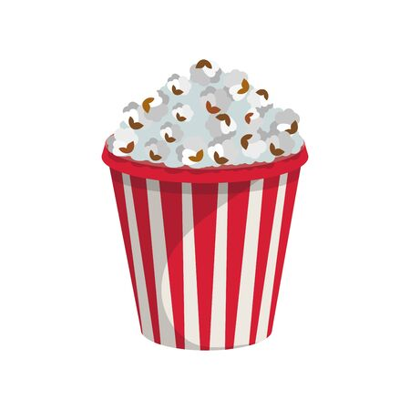 Popcorn. Paper Popcorn Cup. Fast Food. Tasty Street Food and Drink. Fresh Fast Food Product. Delicious Caramel Popcorn. Fast Meal Diet. Big Best Popcorn. Not Healthy Food. Vector graphics to design.  イラスト・ベクター素材