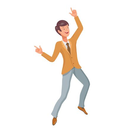 Jumping or Dancing Man. Cartoon character. Party People. Cheerful jumping Man. Smiling Happy Human Face.Fashion Jumping Man. Different emotions. Dancing Man.Vector graphics to design.