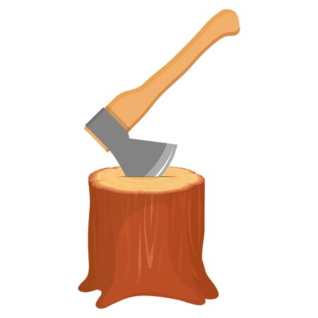 Tree Stump with clogged ax. Cartoon Tree Stump on white background. Vector Graphics to Design.