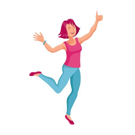 Jumping or Dancing Woman. Cartoon character. Party People. Cheerful jumping Woman. Smiling Happy Human Face.Fashion Jumping Woman. Different emotions. Dancing Woman.Vector graphics to design.
