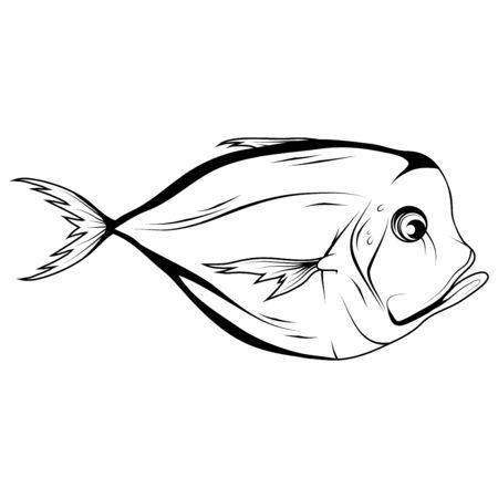 Hand Drawn Atlantic Moonfish (Selene Setapinnis). Sea Food. Moonfish. Sea Fish.Tasty Seafood. Ocean Sport Fishing. Fresh Seafood Product. Fish Meal Diet. Fishing. Vector graphics to design. Foto de archivo - 129681038