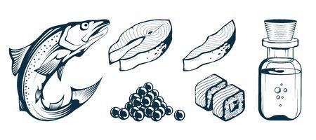 Salmon Fish. Set Raw Fish Steak. Fresh Caviar Salmon. Atlantic Salmon Fillet. Sea Fish. Salmon Oil and Omega 3. Refreshing Sushi with Raw Fish. Vector graphics to design.