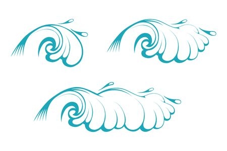Sea Waves. Blue Stormy Wave. Ocean Tidal Storm Waves. Vector graphics to design.