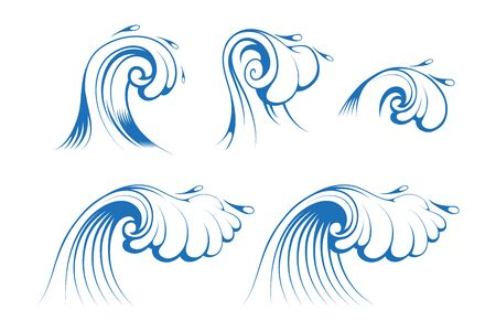 Background for Surfing and Seascape. Sea and Ocean Waves. Splash and Gale. Vector graphics to design.