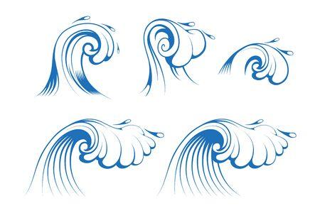 Sfondo per il surf e il paesaggio marino. Onde del mare e dell'oceano. Spruzzi e burrasca. Grafica vettoriale da progettare.