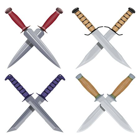 Crossed Dagger. Set of Combat Crossed Knives. Hunter Knife. Typical Hunter Knives. Crossing Bayonets. Vector graphics to design.