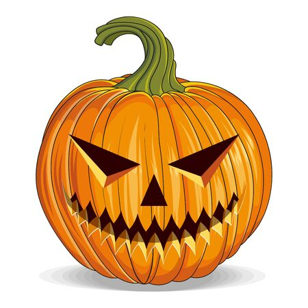 Halloween Pumpkin with Cut Out Eyes. Happy Halloween Holiday. Orange Pumpkin with Smile. Jack Lantern Attribute of All Saints Day. Vector graphics to design.