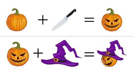 Instruction how to Carve Halloween Pumpkin. Making A Pumpkin For Halloween. Orange Pumpkin - Squash for Halloween. Vector graphics to design.