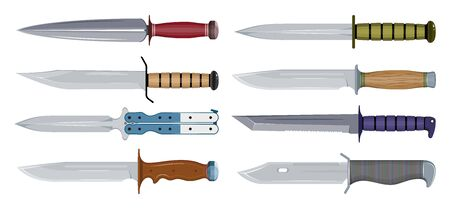 Types of Military Knives. Fighting Knife. Blade Types. American Tanto. Steel Arms. Vector graphics to design.