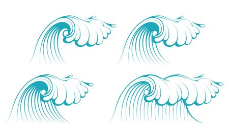Sea Waves. Ocean Waves collection. Nature Wave Water Storm. Vector graphics to design.