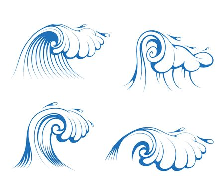 Seascape. Ocean and Sea Waves set for Emblem or Logo Template. Collection of Marine Waves. Vector graphics to design. Фото со стока - 133218358