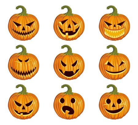 Set of Halloween scary pumpkins. Orange pumpkin with smile for the holiday Halloween. Pumpkin emoticon set. Autumn holidays. Vector graphics to design. 일러스트