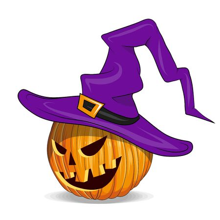 Halloween Pumpkin with Cut Out Eyes.Pumpkin with witch hat. Happy Halloween Holiday. Orange Pumpkin with Smile. Jack Lantern Attribute of All Saints Day. Vector graphics to design. 일러스트