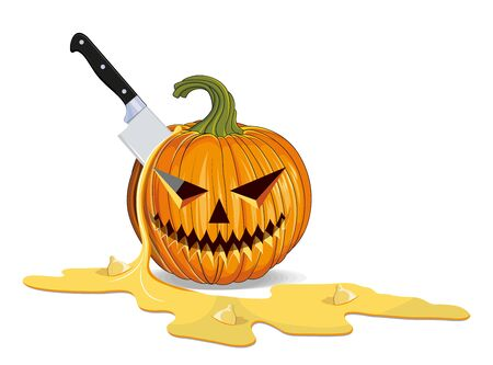 Halloween Killing and Carving of Pumpkin. Happy Halloween Holiday. Orange Pumpkin with Smile. Jack Lantern Attribute of All Saints Day. Vector graphics to design.
