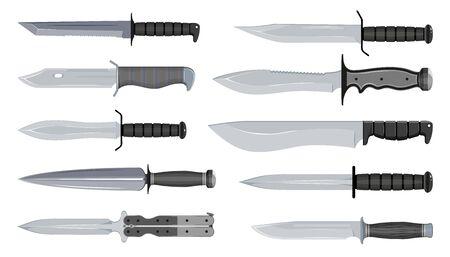 Tipos de cuchillos militares. Cuchillos típicos de cazador. Tipos de cuchillas. Tanto americano. Brazos de acero. Gráficos vectoriales para diseñar.