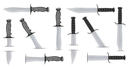 Set of Combat Knife. Special Tactics Knife. Hunting Equipment. Edged Weapons Symbol. Vector graphics to design.