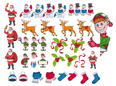 Merry Christmas. Santa Claus, Snowman, Reindeer, mistletoe, hat, scarf, socks and elf. Happy new year 2020. Winter clothes. Happy Holidays. Vector graphics to design.
