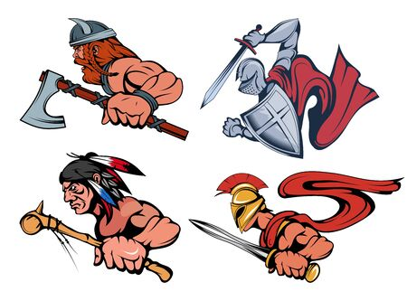 Spartan warrior with a sword in his hand, mascot. Knight warrior in armor and with a sword and shield in his hand. Viking warrior with a sword in his hand. Indian chief with battle mace in hand. Ilustracja